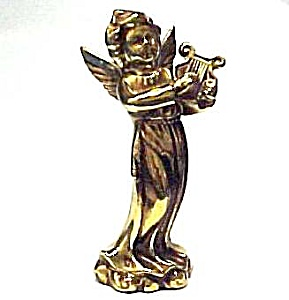 Golden 5 inch Angel with Harp - Made in Japan Figurine (Image1)