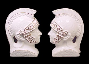 Trojan Head Wall Plaques Bookends Made In Japan Pottery