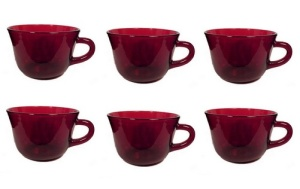 Anchor Hocking Glass Royal Ruby Red Round Cup Fire King (Image1)