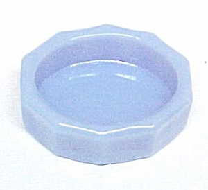 Milk Blue Delphite Glass OVAL Open Salt Dip Cellar New (Image1)