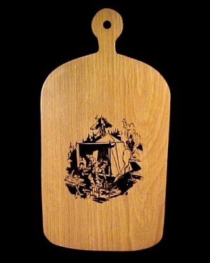 Cutting Board Wall Plaque 1940s Camping Campsite Scene (Image1)