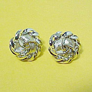 Lisner Goldtone Screw Back Knotted Screw Back Earrings (Image1)