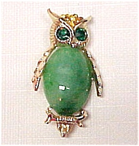 Vintage Emeral Rhinestone Owl Pin Brooch Green Belly (Image1)