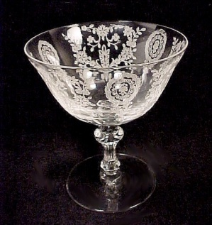Tiffin JUNE NIGHT Clear Etched Floral Low Sherbet (Image1)