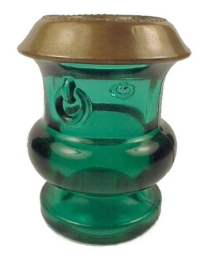 Grecian Urn Toothpick Holder Green Glass Copper Trim