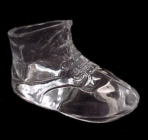 Crystal Clear Glass Baby Shoe Bootie Toothpick Holder (Image1)