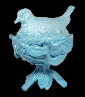 Westmoreland Blue Glass Robin Covered Animal Dish Candy Jar