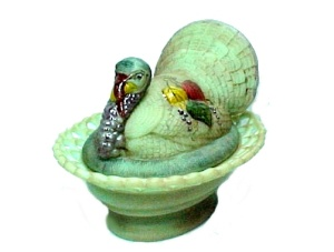 Green Glass Turkey Covered Animal Dish Hand Painted Limited Edition (Image1)