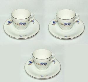 Set of 3 Czech China Demitasse Cup Saucer Art Deco Blue Floral  (Image1)