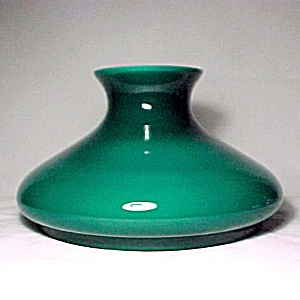 Cased Green Glass 10 in Student Kerosene Oil Lamp Shade Tam-O-Shanter (Image1)