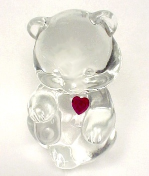 Fenton Birthday Teddy Bear Figurine Ruby Red Heart