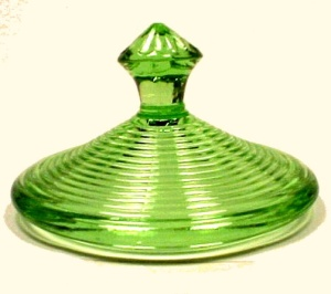 Green Depression Glass Sugar Lid Homespun Akro Agate (Image1)
