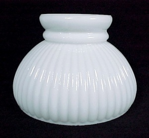 New Ribbed Milk Glass 6 in Student Oil Lamp Light Shade (Image1)