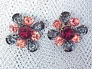 Rhinestone Clip-on Earrings Red Blue Peachy Pink Vntg (Image1)
