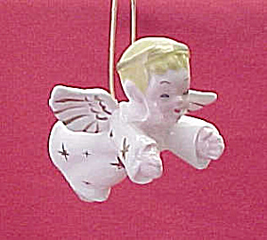 Ceramic Boy Angel Figurine Christmas Tree Ornament Cut