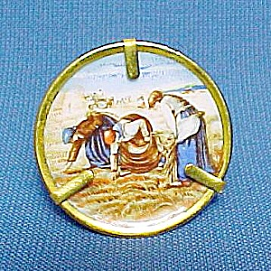 Miniature Limoges Plate in Stand Bringing inthe Sheaves (Image1)