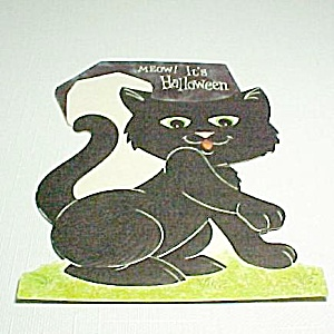 Ambassador Black Cat Halloween Greeting Card Vintage (Image1)