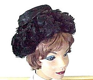 Ladies Black Feather Hat  Vintage 1940s Ken Blair Orig (Image1)