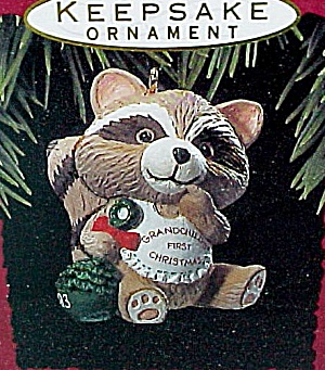 1993 Hallmark Miniature Ornament Grandchilds First Christmas Racoon (Image1)