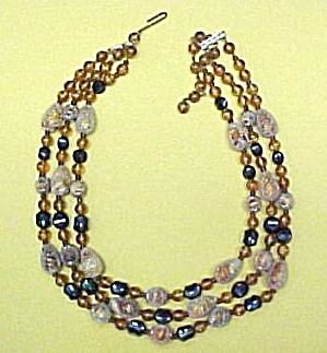 Junk Jewelry Beaded Bead Necklace Plastic Glass Vintage