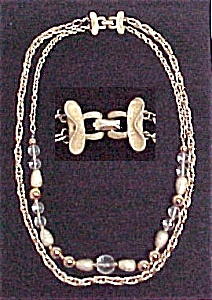 Coro Necklace 27 inch 2 strand Goldtone Chain & Beads (Image1)