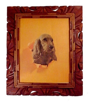 Irish Setter Spaniel Dog Litho Print Picture Wood Frame