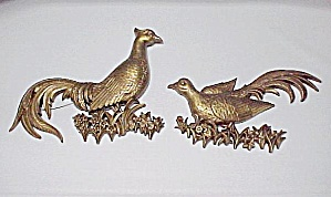 Syroco Golden Pheasants Wall Plaques Pair Vintage 1969 (Image1)