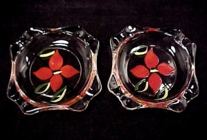 2 Fire King Gay Fad Individual Ashtray Pair Red Flowers