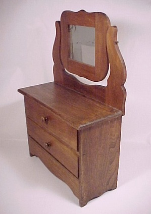 Vintage Wooden Doll Dresser Clothes Chest Swinging Mirror Wood