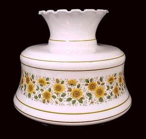 Quoizel 8 In Milk Glass Student Lamp Shade W/ Sunflowers