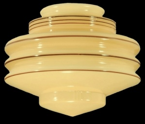 Art Deco Nu-Gold Glass Pendant Light 4 X6X 8 Shade Globe Swag Lamp (Image1)