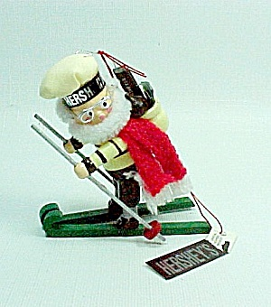 1991 Kurt Adler Hershey's Chocolate Christmas Tree Ornament Snow Skier (Image1)