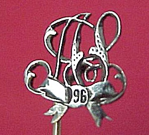 1896 Victorian Silver Plated Stick Pin Initialed HS AS (Image1)