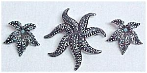 Marcasite Enamel Pin & Clip Earrings West Germany (Image1)