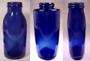 Set of 3 Phillips Milk of Magnesia Cobalt Blue Glass Bottles MOM (Image1)
