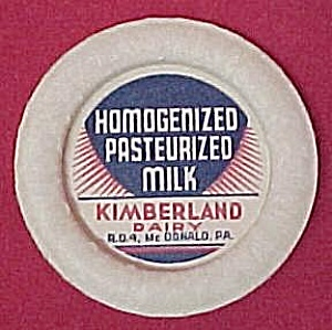 Kimberland Dairy Milk Bottle Paper Cap Old Advertising