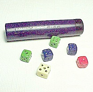 Vintage Glass Mini Lucky Dice In Case Gambling Casino