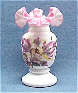 LG Wright Satin Peach Blow Vase Hand Painted Rose Roses (Image1)