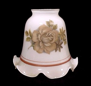 Bell Light Shade White Glass Brown Roses Ceiling Fan Chandelier Wall  (Image1)