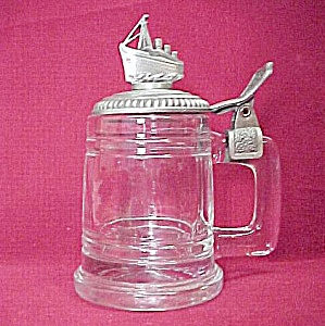 Miniature Glass Beer Stein Fort Pewter Sailing Ship (Image1)