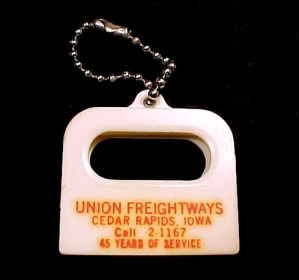 Union Freightways Cedar Rapids Iowa Key Chain Vintage