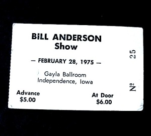 Bill Anderson 1975 Ticket Independence Iowa Ia Vintage
