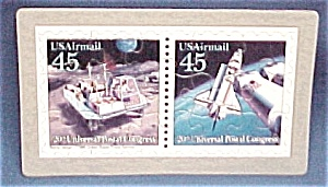 2 Usa Postage Stamp Puzzle Postcard Mail Transportation