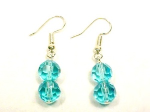Aqua Faceted Glass 8mm Ball Dangle Earrings Silver Plated Hooks (Image1)