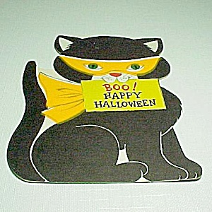 Hallmark Black Cat Halloween Greeting Card Vintage