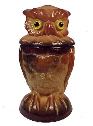 Owl Covered Jar Animal Dish Imperial Slag Glass Chocolate (Image1)