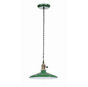 Pendant Light Fixture Industrial Style w/ 12 in Green Shade Porcelain  (Image1)