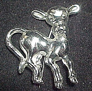 Vintage Childs Kids Cow Calf Pin Brooch Silvertone Hook Clasp (Image1)