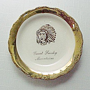 Great Smokey Mountains Indian Chief Butterpat Souvenir