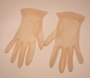 Sheer Nylon Ladies Gloves Peach Pleated Cuff Size 8 1/2 Vintage 1950s